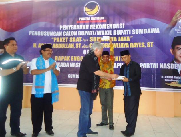 Terima Rekomendasi Dukungan dari DPP Nasdem