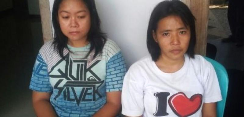 Ria dan Alsyah--dua CTKW yang disekap di Solo dan berhasil diamankan Polres setempat